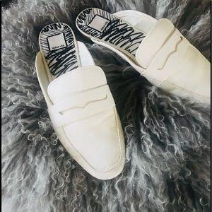 Dolce Vita white leather mules